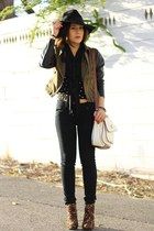 army green moto sans souci jacket - brown leopard Forever 21 boots