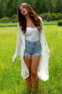 White-duster-forever-21-cardigan-sky-blue-denim-cutoffs-vintage-shorts