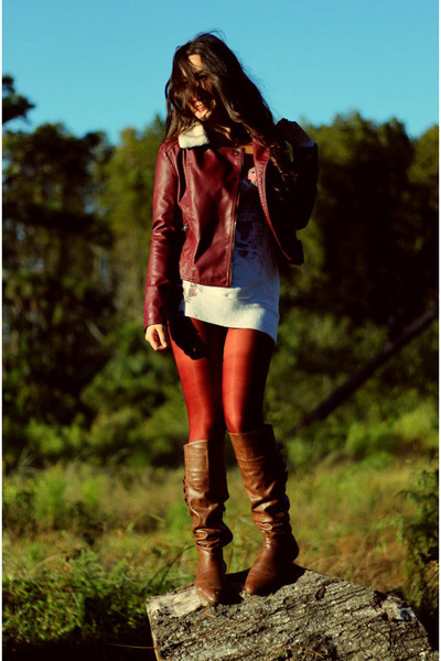 dark brown leather Nine West boots - crimson faux leather Forever 21 jacket
