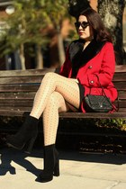 black suede platform GoJane boots - red faux fur collar Forever 21 coat