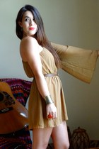 bronze cuff Forever 21 bracelet - camel bell sleeve Lush dress