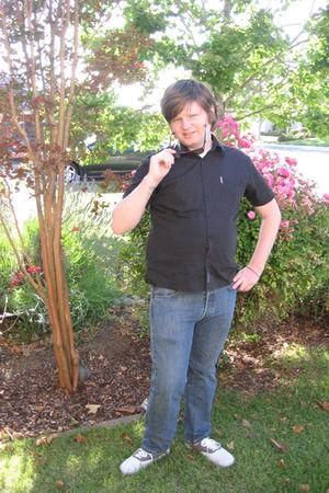 black ben sherman shirt - blue Levis jeans - gray Vans shoes - black Target sung