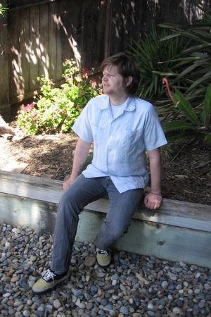 blue Mexican Wedding Shirt shirt - gray Levis jeans - yellow Vans shorts - gray