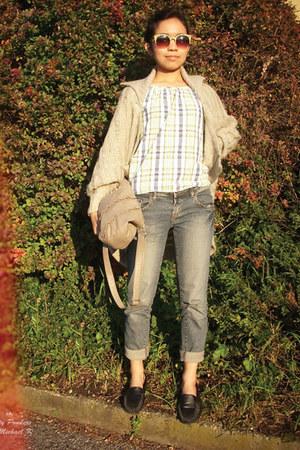 chartreuse blouse - Nevada jeans - H&M bag - Claires sunglasses