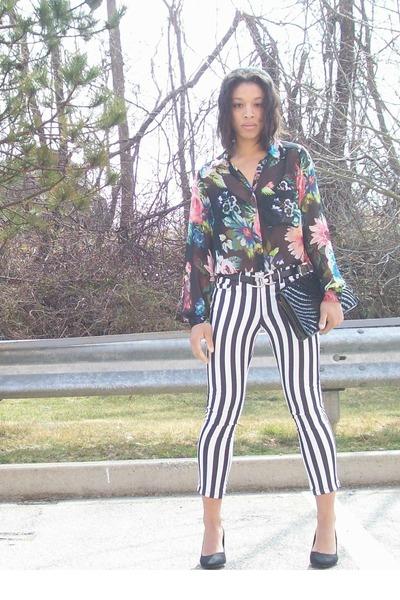 black Cole Haan bag - black cropped striped H&M pants