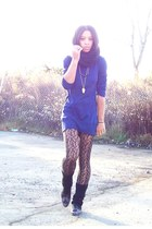 black leg warmers Wetseal socks - navy H&M dress - black HUE tights