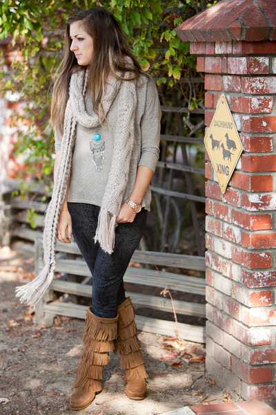 brown Minnetonka boots - dark gray Gap jeans - tan Forever 21 scarf