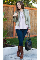 dark khaki H&M jacket - dark brown Cathy Jean boots