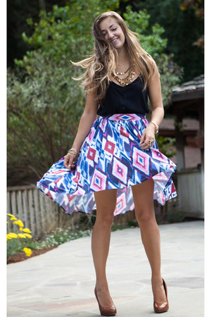 blue Forever 21 skirt - black Old Navy top - brown Mia heels