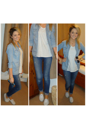 blue River Island jeans - light blue Topshop shirt - white Topshop top