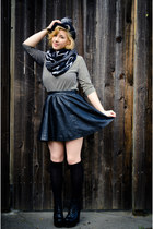 striped borrowed shirt - platform GoJane boots - borrowed hat - PacSun scarf