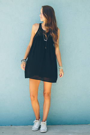 black nectar clothing dress - aquamarine nectar clothing necklace
