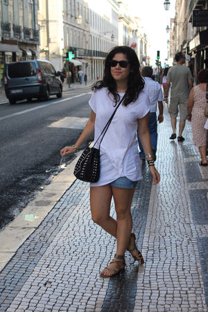 white Topshop t-shirt - blue Zara shorts - gold ASH shoes - black Bimba y Lola b
