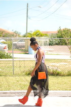 carrot orange thrifted purse - carrot orange agace shoes - white agace dress