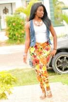 carrot orange floral print pants - white top - navy denim vest