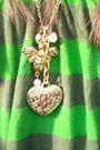 Green-vintaged-dress-gold-forever21-necklace