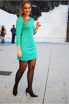 turquoise blue PERSUNMALL dress - black Mango heels
