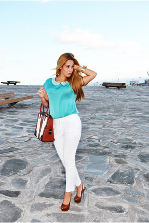 teal suiteblanco blouse - white Massimo Dutti pants