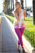 magenta nowIStyle leggings - bubble gum Stradivarius blouse