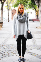 dark gray Zara shoes - silver nowIStyle sweater - heather gray Zara scarf