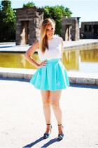 aquamarine PresKA skirt - white Zara blouse - blue Zara heels