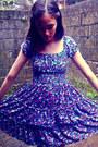 Deep-purple-floral-dress-vintage-dress