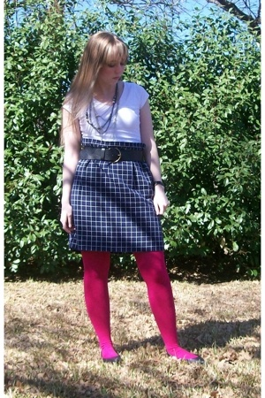 Target t-shirt - Goodwill skirt - delias tights - Steve & Barrys belt - forever