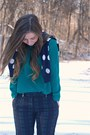 Navy-polka-dots-old-navy-cardigan-turquoise-blue-plaid-h-m-pants