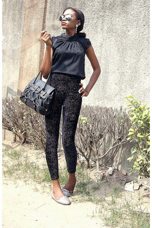black Luella bag - black velvet Susen pants - black silk River Island top