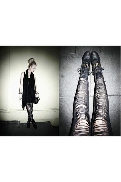 korea boots - black Forever 21 ring - silver Chanel earrings