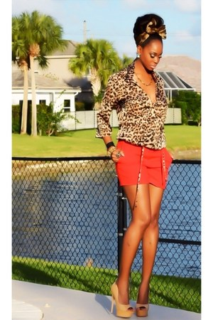 silk calvin klein shirt - Louis Vuitton scarf - H&M shorts - LAMB pumps