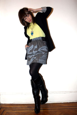 black Zara blazer - silver Alberto Makali skirt - yellow Target blouse - black J