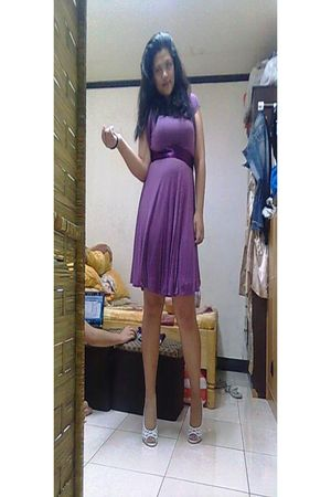 purple dress - white shoes
