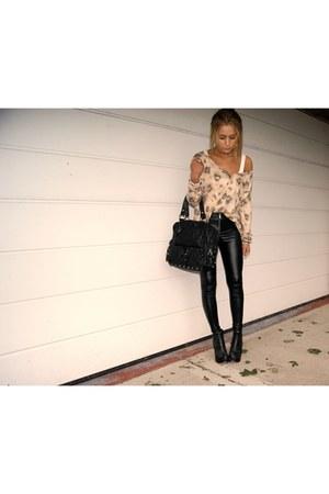 Topshop boots - H&M leggings - Topshop bag - Zara cardigan