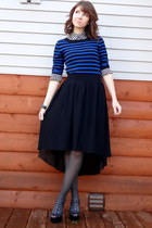 black high low forev skirt - blue striped Old Navy sweater - white thrifted top