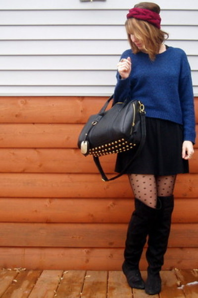 black Payless boots - navy H&M sweater - Target tights - black Zara skirt