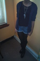H&M shirt - Old Navy shorts - cardigan - Forever 21 boots