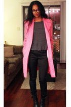 hot pink Nordstrom coat - charcoal gray Forever 21 shirt - black H&M pants