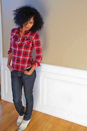 plaid thrifted Mossimo shirt - beige brogues dmsx boots - Forever 21 jeans