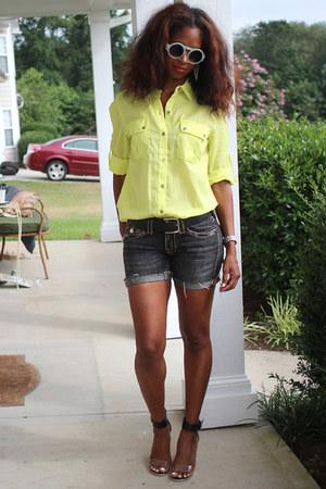 neon yellow calvin klein top - diy True Religion shorts