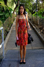 Red-anonymous-dress-black-thrifted-shop-shoes-black-roxy-accessories-brown