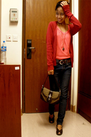 red baleno cardigan - pink Thrifted Store top - black Angel jeans - brown Baby D