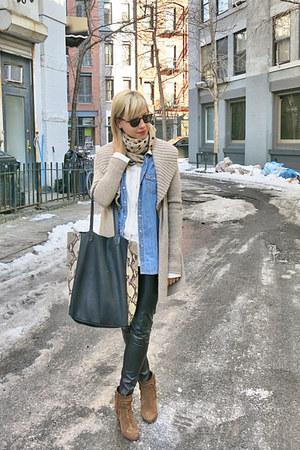 camel vince cardigan - brown Tila March boots - black Massimo Dutti bag