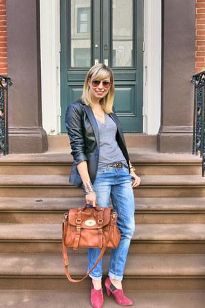 black vintage blazer - sky blue Forever 21 jeans