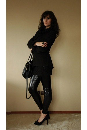 blazer - leggings - Mango accessories - shoes