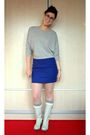 Silver-zara-top-blue-koton-skirt-white-nine-west-boots-pink-topshop-tights