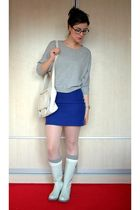 silver Zara top - blue Koton skirt - white Nine West boots - pink Topshop tights