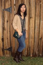 dark brown boots - navy jeans - forest green Forever 21 bag - charcoal gray flor