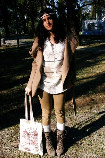 cream bag - light brown boots - camel jacket - cream jumper - cream stockings