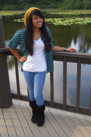 BDG top - Hanes shirt - PacSun jeans - Rampage boots - thrifted hat